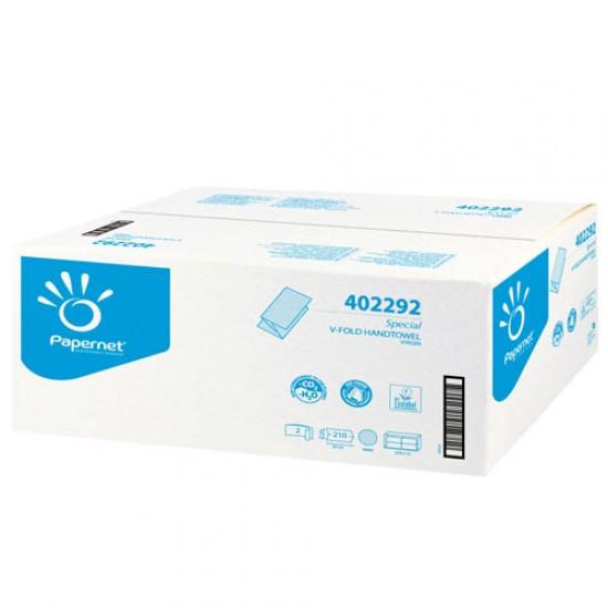 Prosoape pliate de hartie V Fold 24x21cm, 210 buc./ pachet, Papernet, albe, celuloza 100%