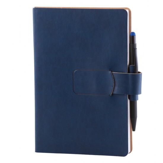 Notes Ravelo, piele, A5, liniat alb, albastru