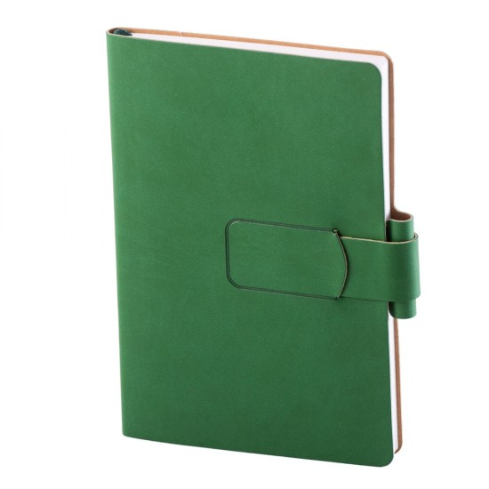 Notes Ravelo, piele, A5, liniat ivory, verde