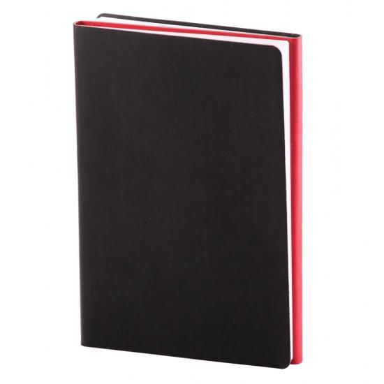 Notes Twin, piele, A5, liniat + matematica, negru/rosu