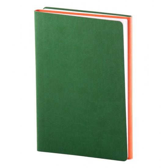 Notes Twin, piele, A5, liniat + matematica, verde/portocaliu