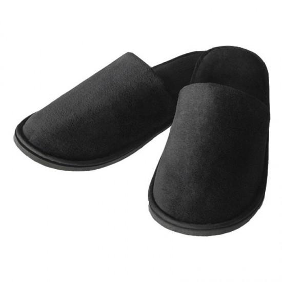 Papuci inchisi in fata din bumbac 100%, velour negru, talpa 6mm HL 107