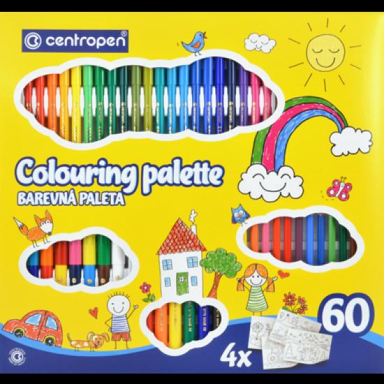 Set carioci, markere si creioane colorate Centropen Quatro II 9396 - 60 produse/set