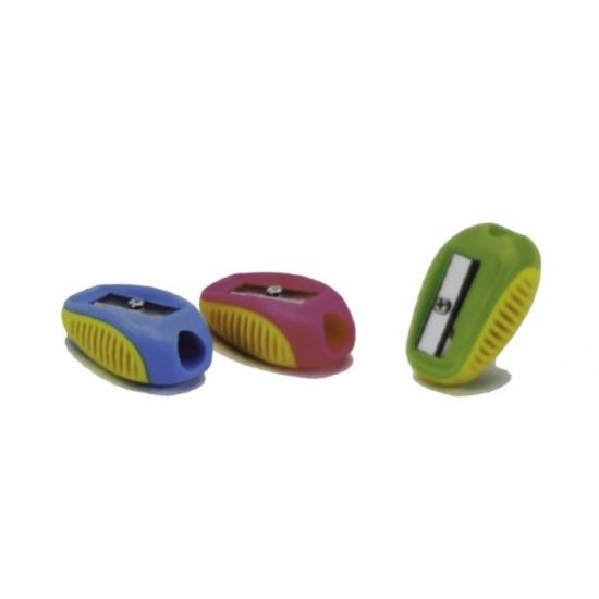 Ascuțitoare simpla cu forme rotunjite si grip,multicolore.