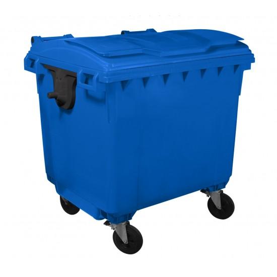 Container HDPE CLF 1100L cu capac plat albastru - Transport inclus