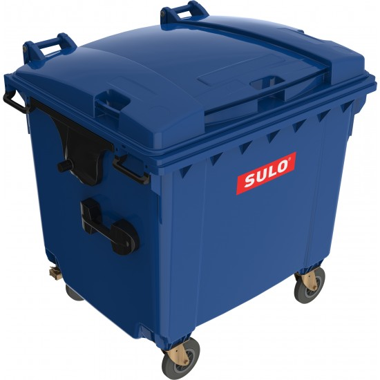 Eurocontainer din material plastic 1100 l albastru cu capac plat MEVATEC  - Transport Inclus