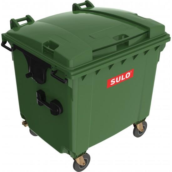 Eurocontainer din material plastic 1100 l verde cu capac plat MEVATEC - Transport Inclus