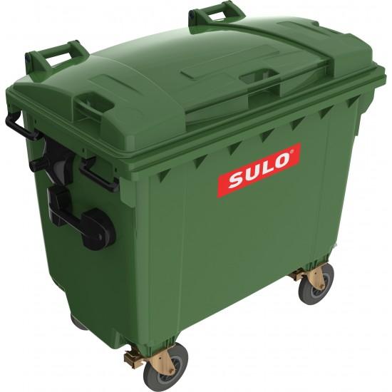 Eurocontainer din material plastic 660 l verde cu capac plat MEVATEC - Transport Inclus