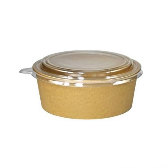 Caserola salata din carton KRAFT, capac transparent, 550 cc, 50 buc/set