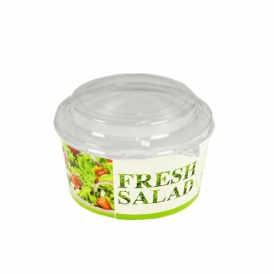 Caserola salata din carton, capac transparent, 750 cc, 50 buc/set