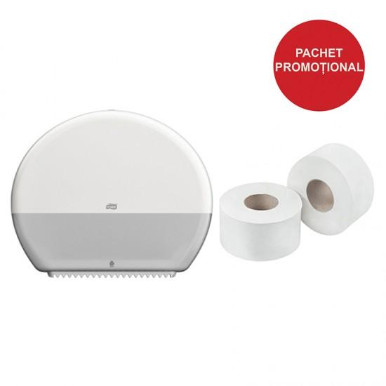 Pachet dispenser hartie igienica mini Jumbo Tork + 1 bax Hartie igienica mini jumbo 130m
