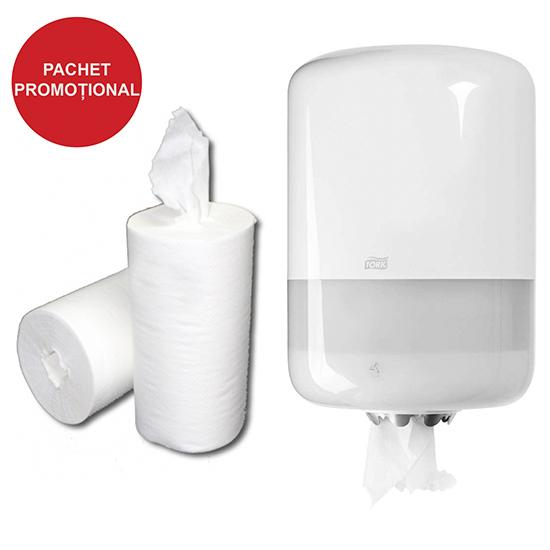 Pachet promotional Dispenser prosop derulare mare Tork si consumabil