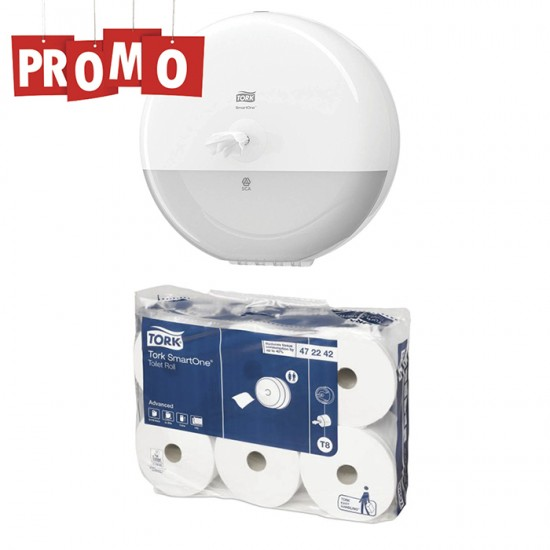 Pachet Dispenser hartie igienica SmartOne Tork si un bax Hartie igienica
