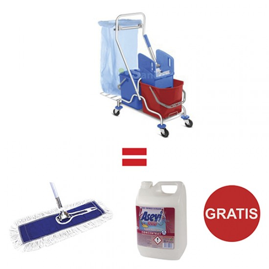 Pachet Carucior curatenie Systema, Esenia + Gratis Mop si Detergent
