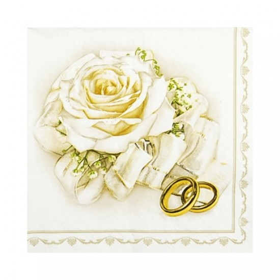 Servetele de masa 33x33cm, model trandafir cu inele - 3 straturi