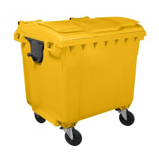 Container HDPE CLF 1100L cu capac plat galben - Transport inclus