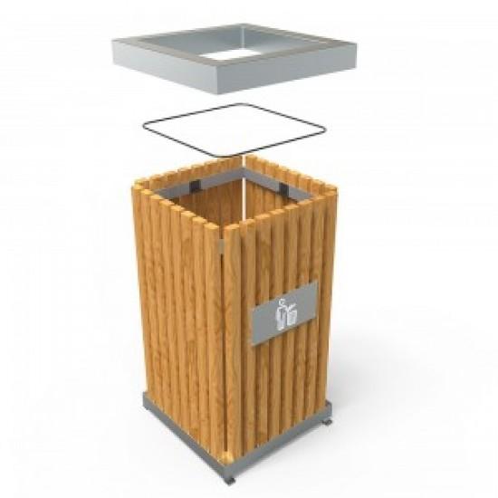 BORAS S Cosuri moderne pentru colectare selectiva din inox cu lemn