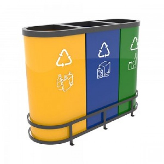 MALMO B Best-seller set cosuri de reciclare din metal ultra rezistent, 50L/recipient, 3 recipiente