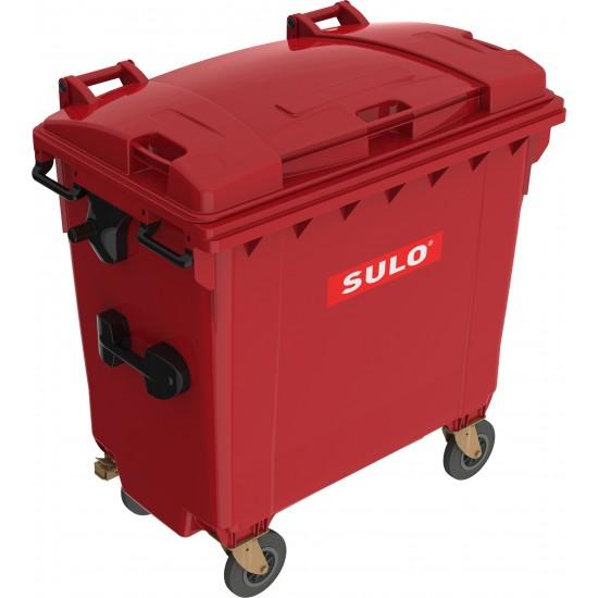 Eurocontainer din material plastic 770 l rosu cu capac plat MEVATEC - Transport Inclus