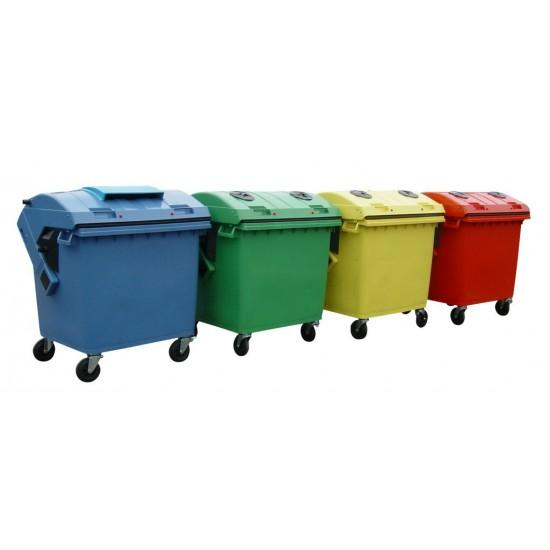 Container HDPE CLE 1100L cu capac rotund verde - Transport inclus