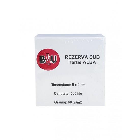 Cub alb 9 x 9 cm, hartie 60 grame, 500 coli/cub