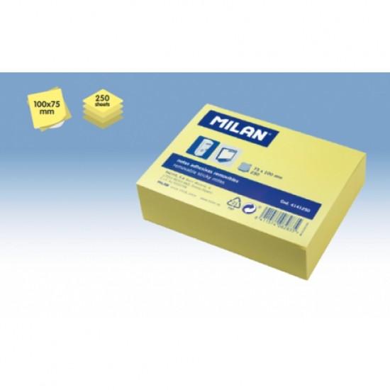Bloc notes adeziv 75x100 galben pal  250 coli milan
