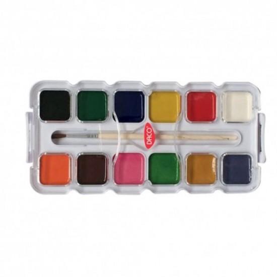 Acuarele 12 culori semi-uscate perinita daco ar127