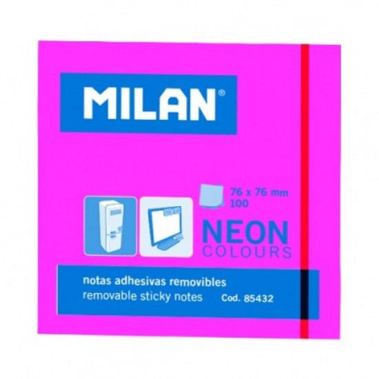 Bloc notes adeziv 76x76 neon roz