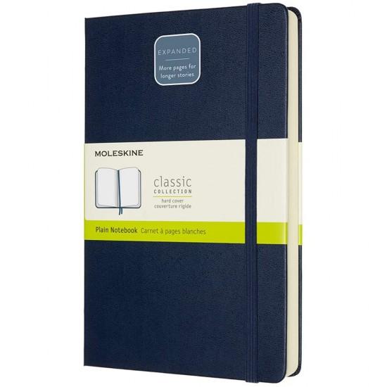 Agenda Moleskine Expanded Large Plain Sapphire Blue, 21 x 13 cm, velina, 400 file