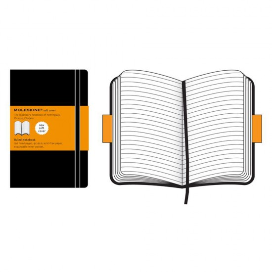 Agenda Moleskine Ruled Soft Notebook Pocket, 14 x 9 cm, dictando, 192 file