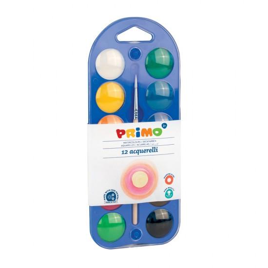 Acuarele Morocolor Primo, diametru pastila 25 mm, 12 culori/cutie