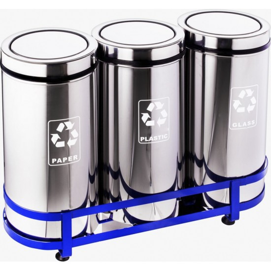 Set 3 cosuri colectare selectiva din inox cu capac batant, 45L/recipient