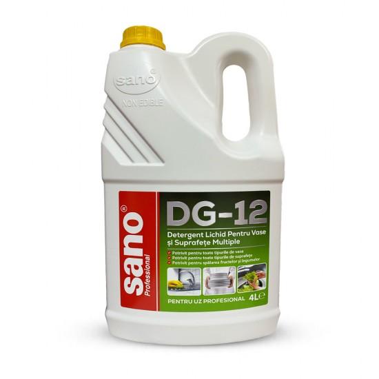 Detergent Lichid Pentru Vase si Suprafete Multiple, SANO PROFESSIONAL DG-12, 4L