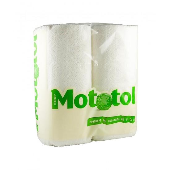 Prosop de bucatarie 2 straturi, set 2 role Mototol alb, 10m/rola