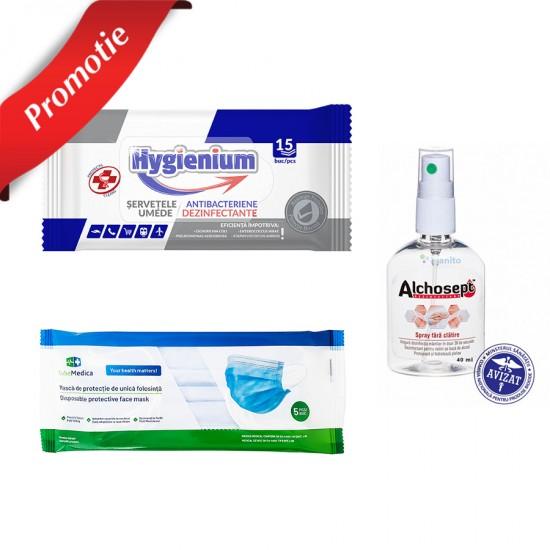 Pachet dezinfectare si protectie: 5 masti + pachet servetele dezinfectante + dezinfectant virucid spray