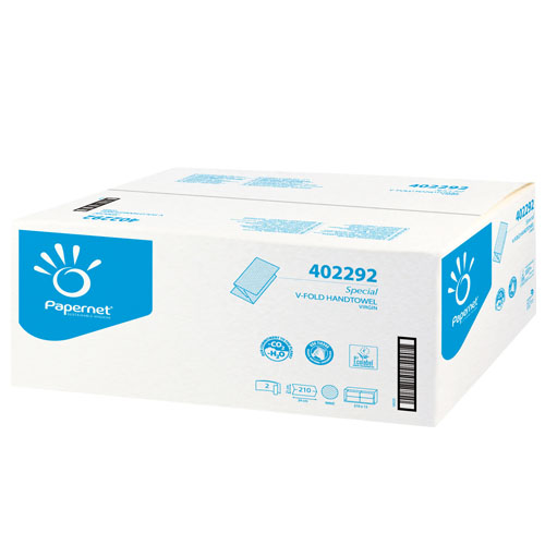 Prosoape Pliate De Hartie V Fold 24x21cm 210 Buc./ Pachet Papernet Albe Celuloza 100% sanito.ro