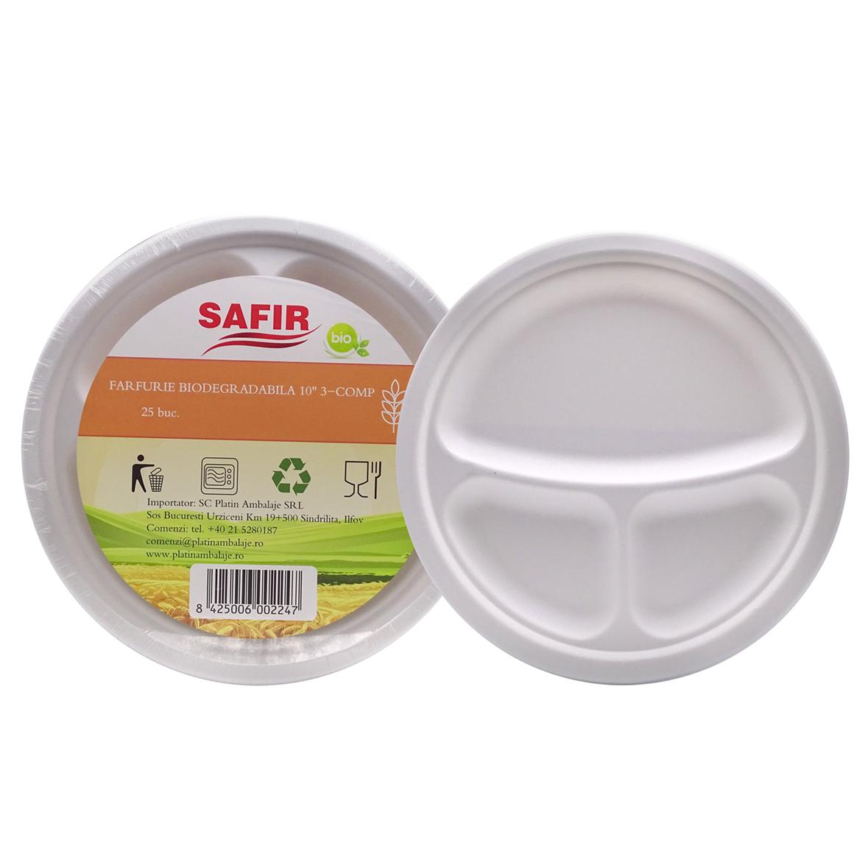 Farfurie Bio 26 Cm 3 Compartimente P103c 25 Buc/Set sanito.ro