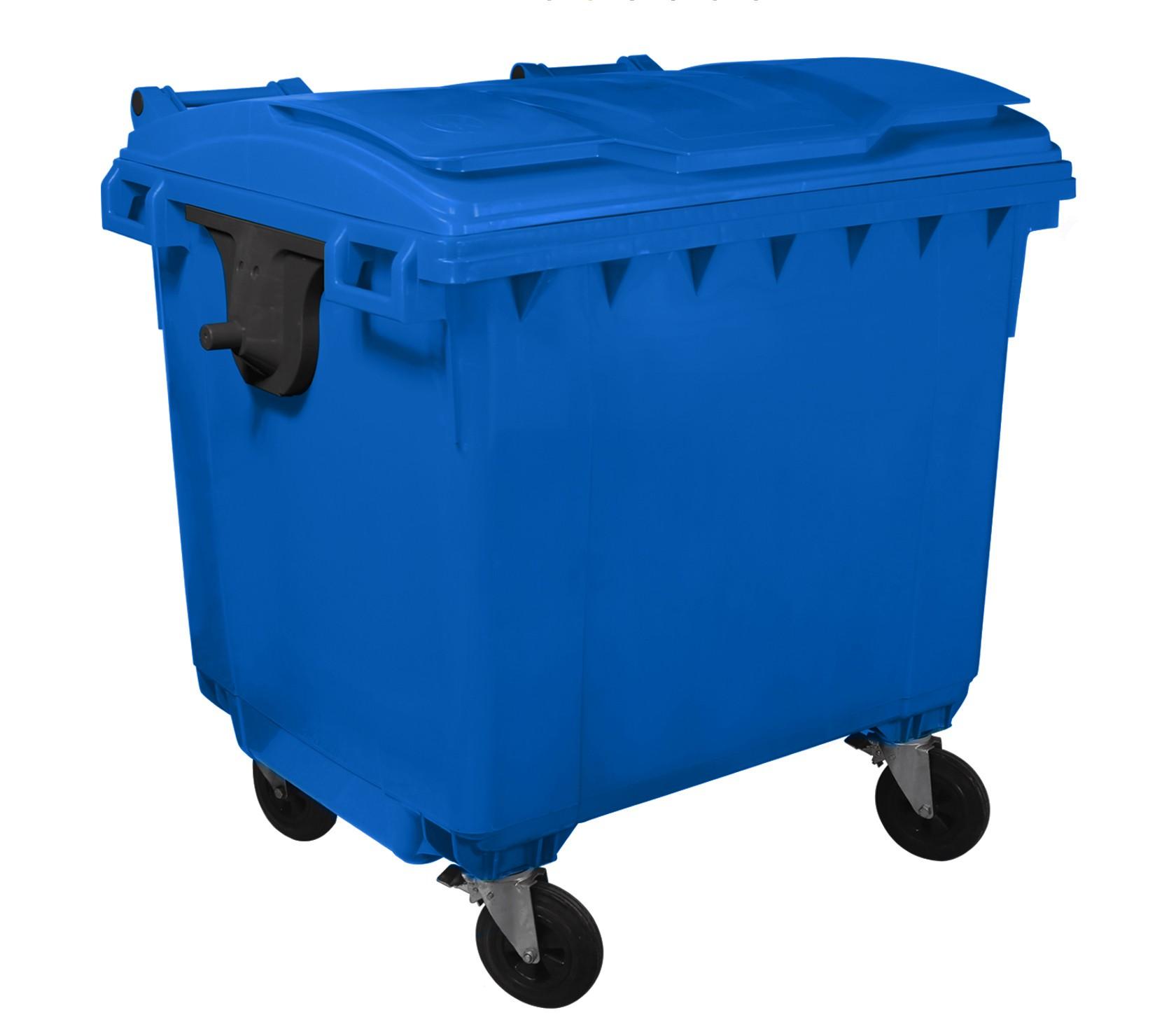 Container HDPE CLF 1100L cu capac plat albastru