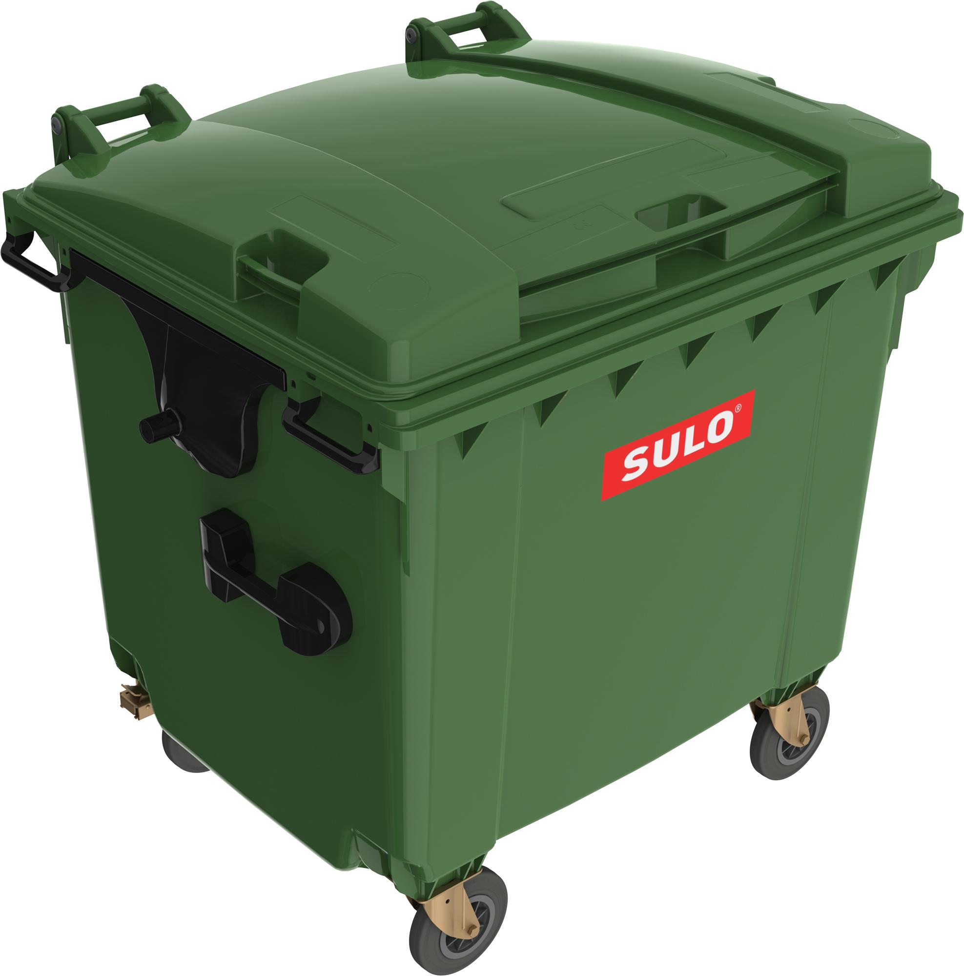 Eurocontainer Din Material Plastic 1100 L Verde Cu Capac Plat Mevatec - Transport Inclus 2021 sanito.ro