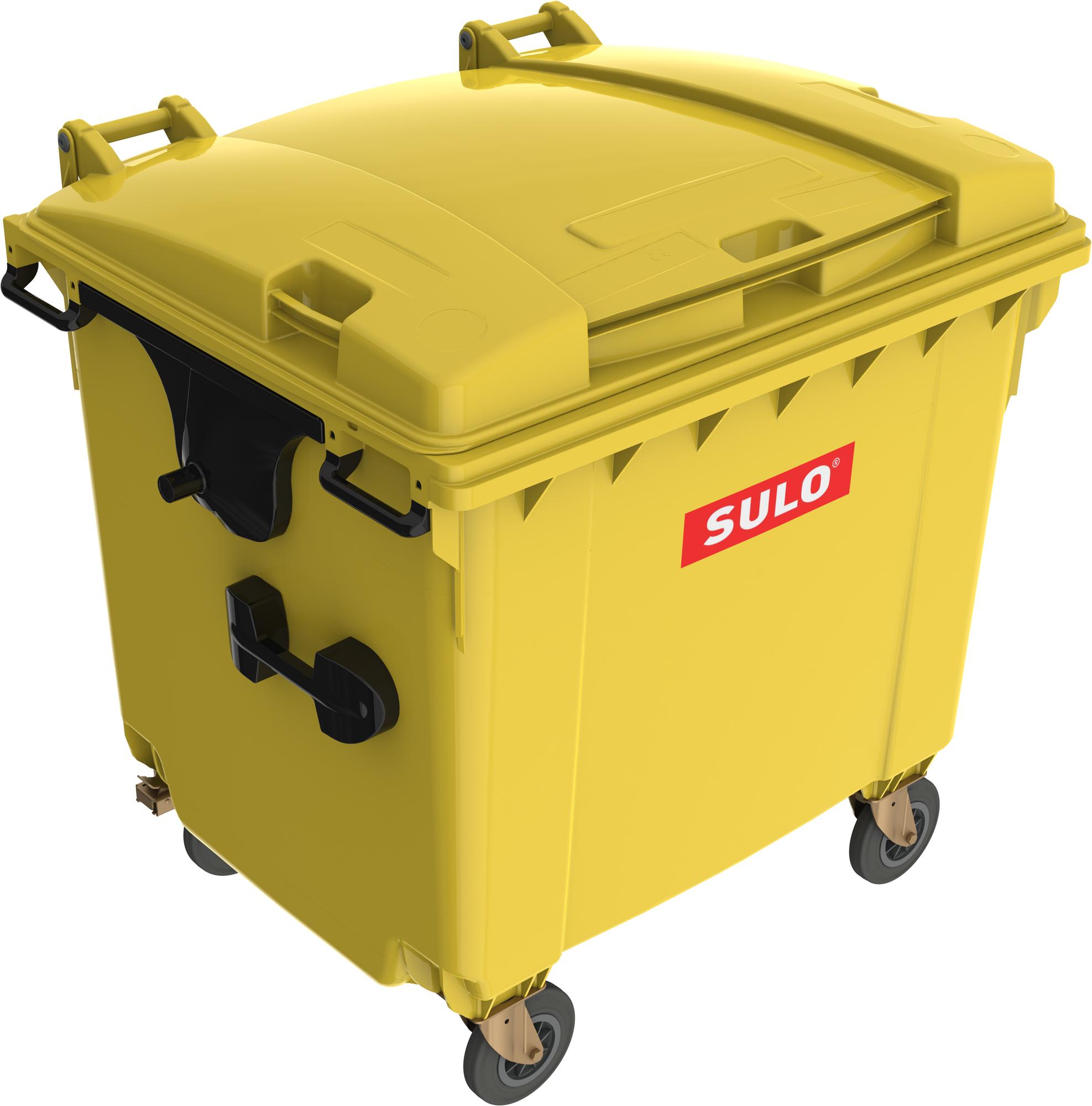 Eurocontainer Din Material Plastic 1100 L Galben Cu Capac Plat Mevatec - Transport Inclus sanito.ro