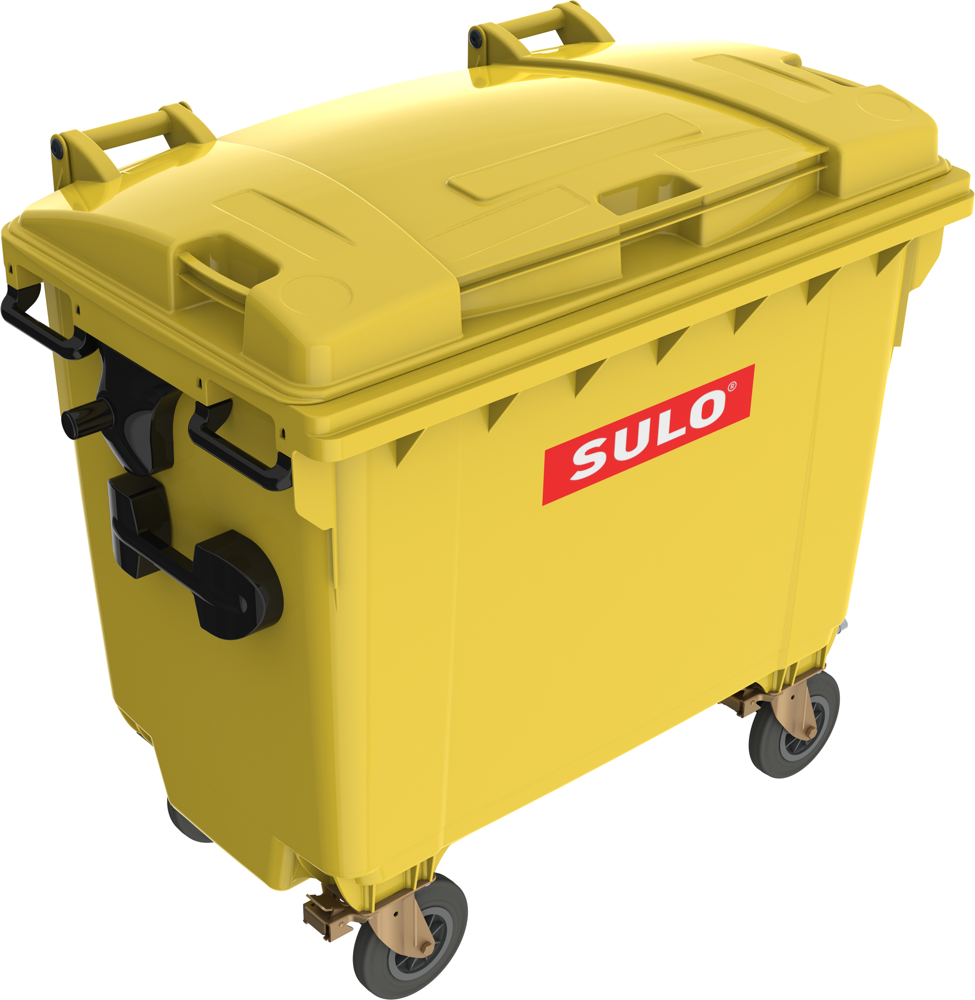 Eurocontainer Din Material Plastic 660 L Galben Cu Capac Plat Mevatec - Transport Inclus sanito.ro