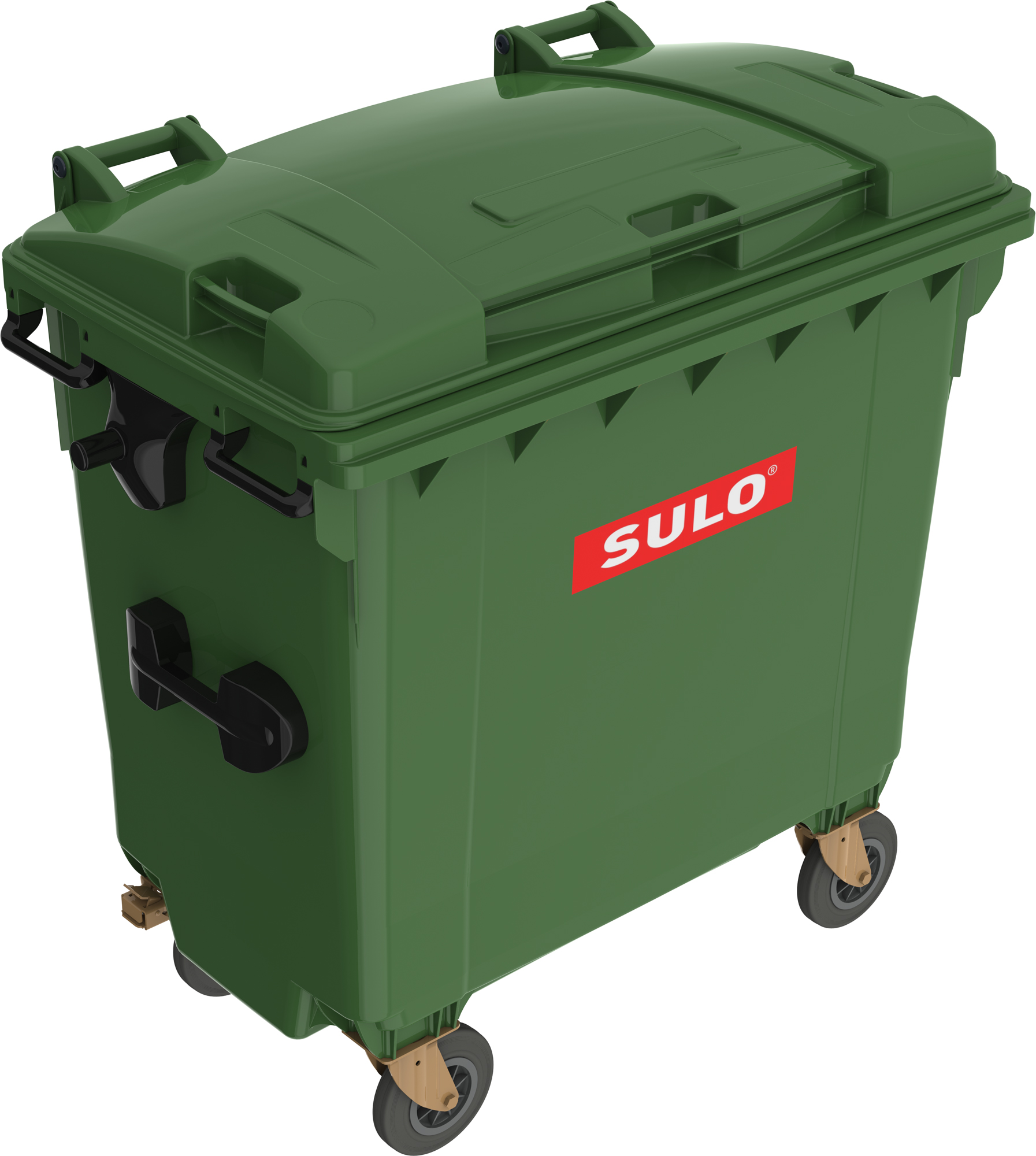 Eurocontainer Din Material Plastic 770 L Verde Cu Capac Plat Mevatec - Transport Inclus 2021 sanito.ro