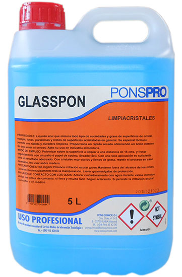 Glasspon-Detergent Profesional Concentrat Pentru Geamuri Cu Efect Antiaburire 5l Asevi 2021 sanito.ro