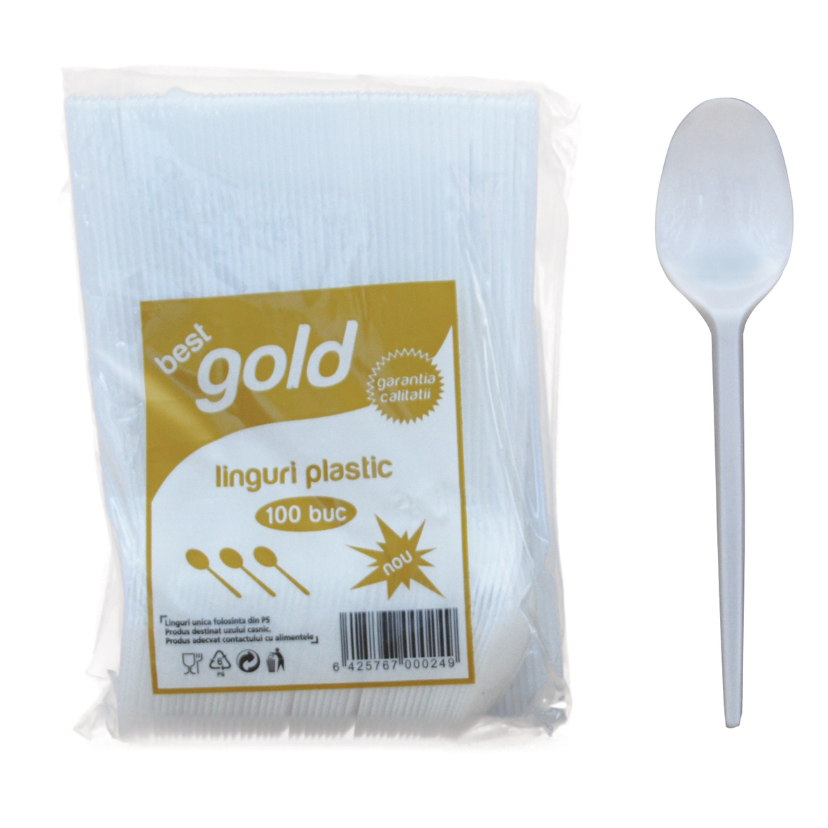 Linguri Din Plastic Gold 100 Buc/Set 2021 sanito.ro