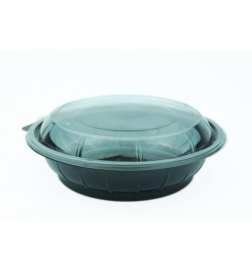 Caserola Salata Rotunda Neagra Din Pet Capac Transparent 1000 Cc 50 Buc/Set sanito.ro