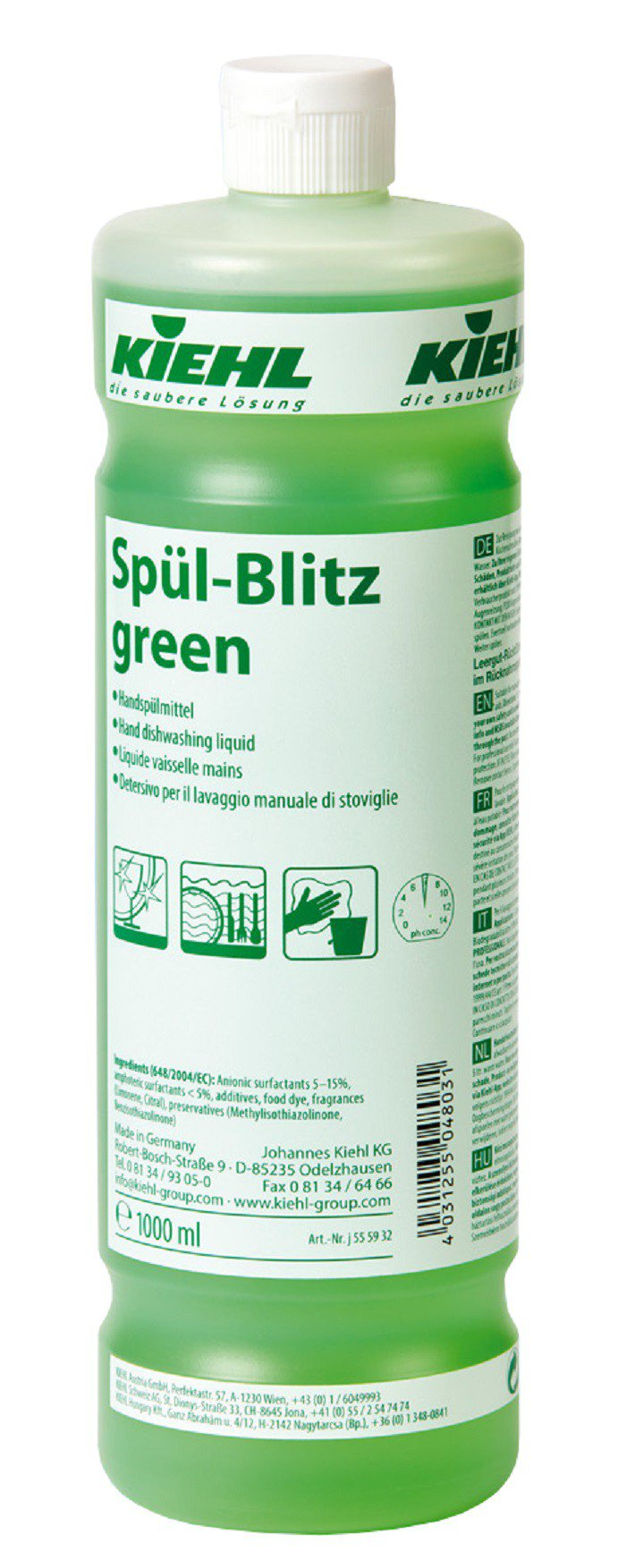Spul Blitz Green-Detergent Pt Vesela Cu Efect De Luciu Dupa Uscare Pt Toate Supraf Din Bucatarie 1l Kiehl sanito.ro