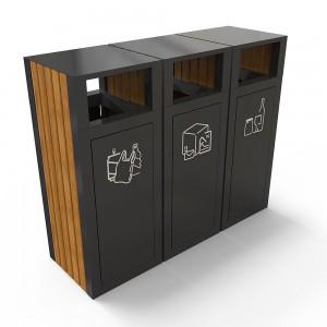 Kuokio Am Set De Reciclare Din Metal Ultra Rezistent Cu Decor Din Lemn sanito.ro
