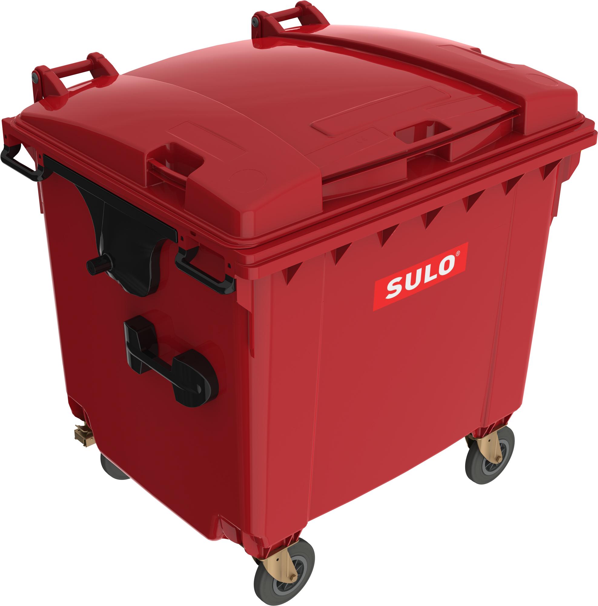 Eurocontainer Din Material Plastic 1100 L Rosu Cu Capac Plat Mevatec - Transport Inclus 2021 sanito.ro