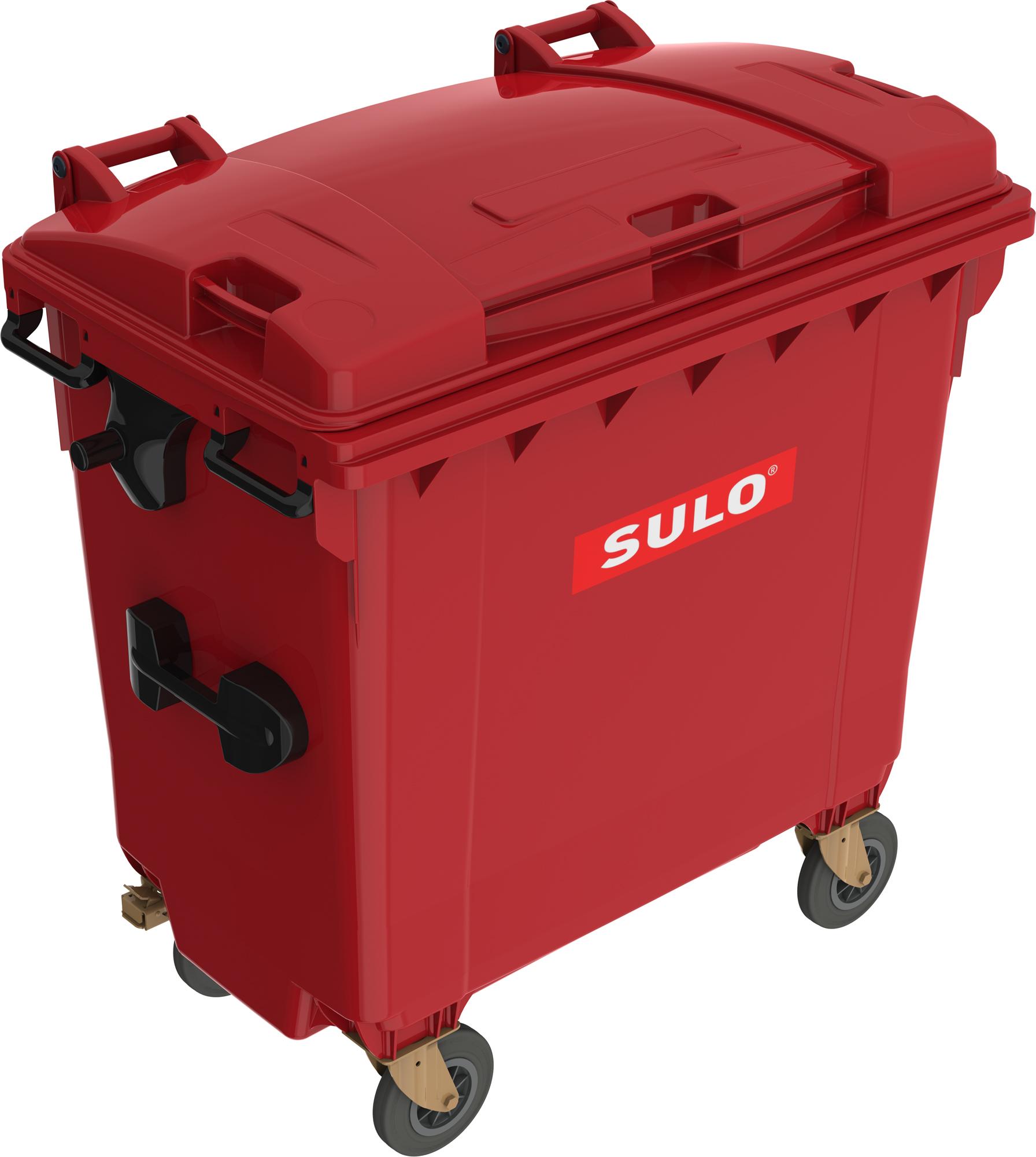 Eurocontainer Din Material Plastic 770 L Rosu Cu Capac Plat Mevatec - Transport Inclus 2021 sanito.ro