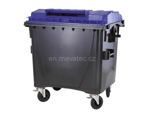 Eurocontainer Din Material Plastic 1100 L Cu Capac Plat Culoare Albastru Cu Inchizatoare Pentru Capac - Colectare Hartie Mevatec - Transport Inclus 2021 sanito.ro